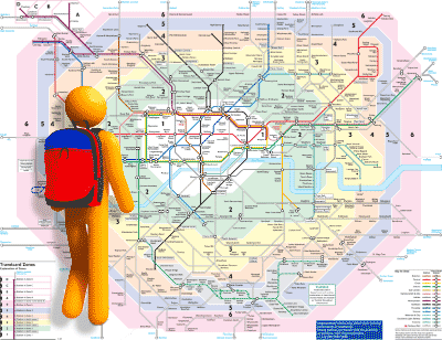 Computer character in front of London map