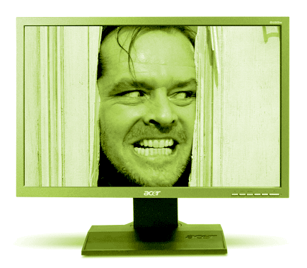 Jack Nicholson in 'The Shining' stares out of screen