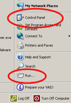 Windows XP Control Panel and Run buttons