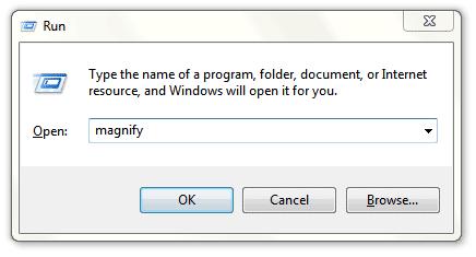 Windows 7 Run Box