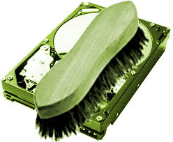 Scrubbing brush and hard disc
