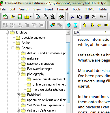 Treepad - showing the tree and part of an article