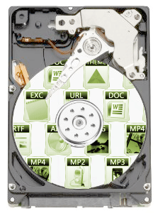 Hard drive with file icons