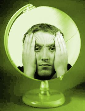 Fed up face superimposed on globe