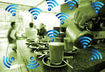 Blue WiFi symbols on photo of coffee bar