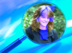 Young person through a magnifying glass with a superimposed Facebook logo