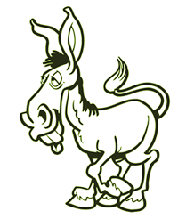 A cartoon of an ass (donkey)