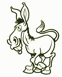A cartoon of an ass (donkey)