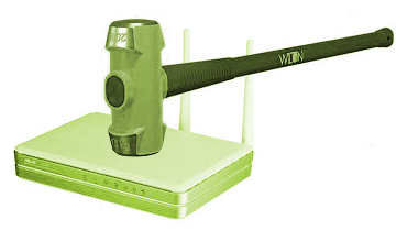 Sledgehammer and Wifi Router
