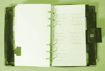 an open Filofax