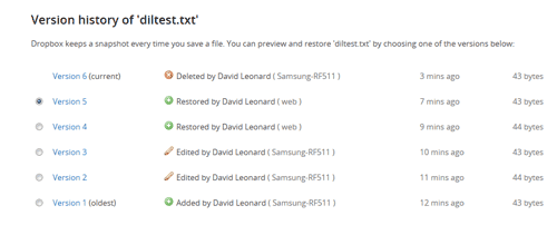 Showing the Previous Versions of Deleted Files