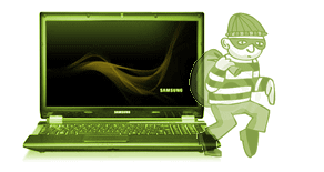 Cartoon robber stealing away from laptop