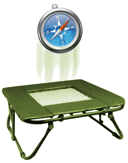 Safari icon bouncing on trampoline