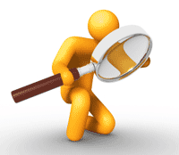 Stick character with a magnifying glass