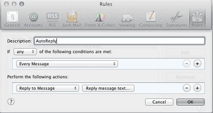 Mac Mail Rules Box