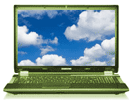 Clouds on laptop screen