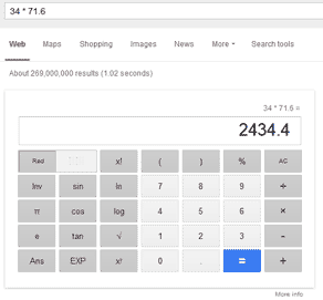 Google Instant Calculator